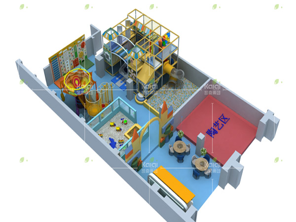 Indoor playground equipment with ball pool, wall climbing and sand play