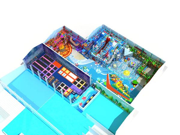 ملعب داخلي كبير مع منزلقات عالية ومنتزه ترامبولين ودورة نينجا لجميع أفراد الأسرة لقضاء وقت ممتع