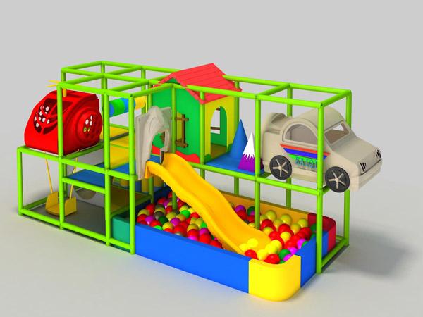 ملعب داخلي صغير به منزلقات وبركة سباحة للأطفال للعب في المدرسة الداخلية