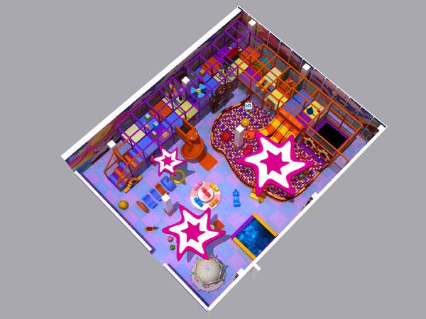 Binnenshuise speelsentrum in lekkergoed -tema vir supermark