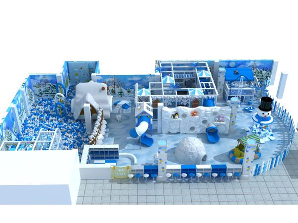 Groot binnenshuise speelplek met sneeutema en iglo