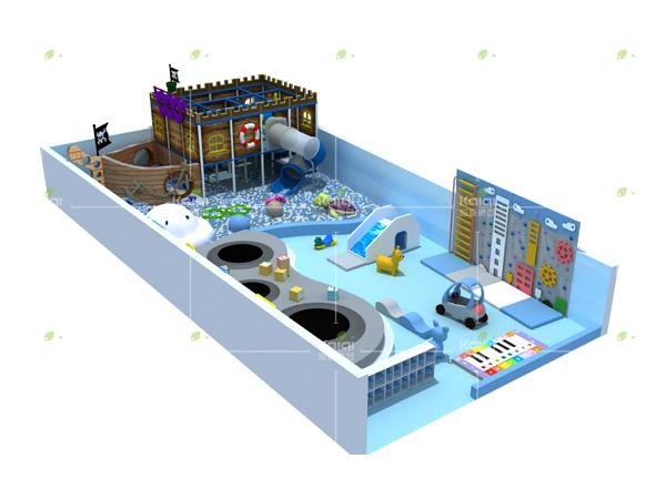 مركز لعب داخلي مع موضوع سفينة القراصنة
