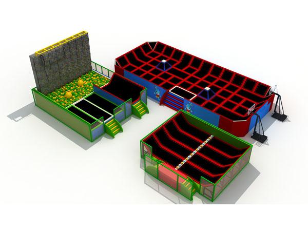 Trampolienpark met verskillende trampolien- en skuimputte vir kinders en volwassenes om speletjies te speel