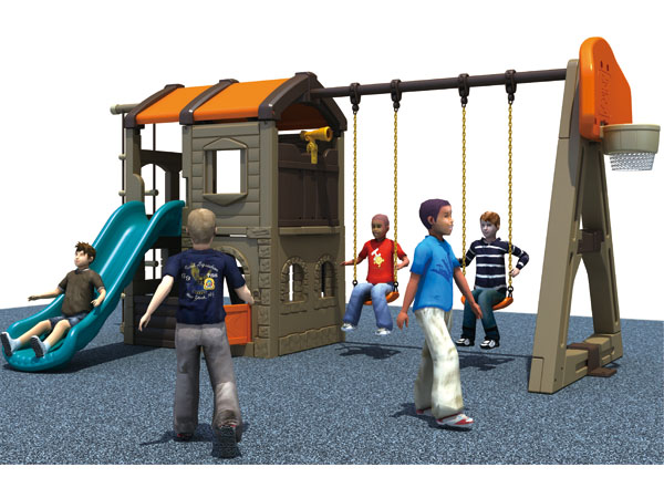 Indoor house and swing combined playground equipment for kids age 3 and above