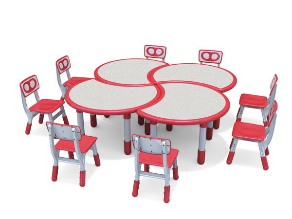 طاولة وكرسي للأطفال على شكل زهرة بلاستيكية قابلة للتعديل أفضل سعر للأثاث المدرسي لمرحلة ما قبل المدرسة