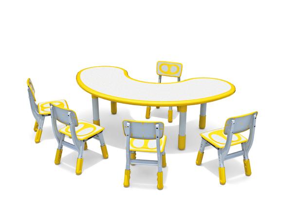 غرفة طعام للأطفال مناسبة لطاولة وكرسي بلاستيك على شكل قمر