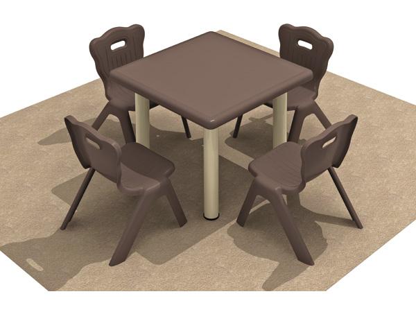 أثاث ما قبل المدرسة مجموعة طاولة وكرسي بلاستيكية مربعة الشكل للأطفال أفضل خيار لمرحلة ما قبل المدرسة