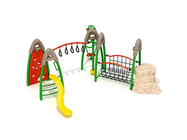 Kinders se gekombineerde kommersiële staal- en touklimrame buite speelterrein -toerusting KQ31031A