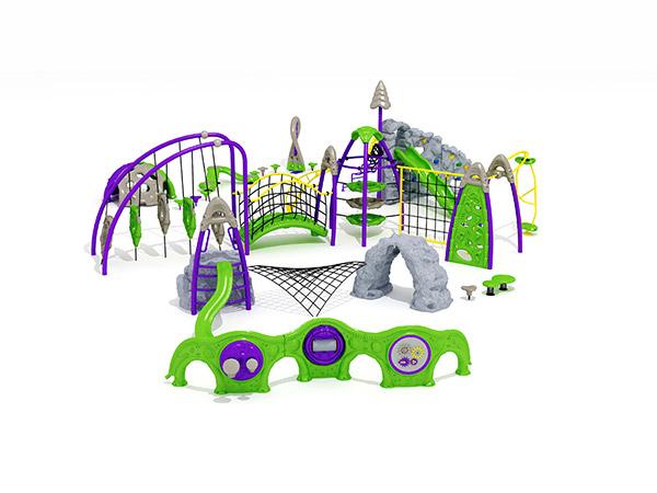 Kinders se gekombineerde kommersiële staal- en touklimrame buite speelterrein -toerusting KQ31032A