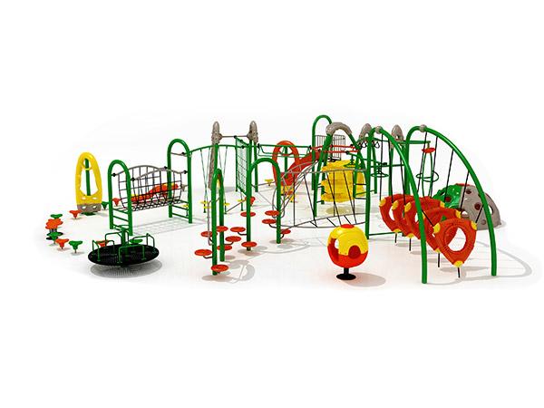 Kinders kombineer kommersiële staal- en touklimrame buitenshuise speelterrein -toerusting KQ31034A