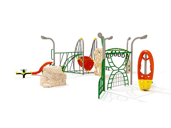Kinders kombineer kommersiële staal- en touklimrame buitenshuise speelterrein -toerusting KQ31035A