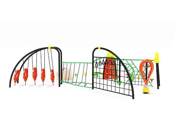Kinders se gekombineerde kommersiële staal- en touklimstruktuur vir buitenshuise speelterrein KQ31036A
