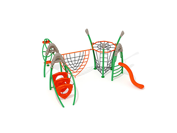 Kinders kombineer kommersiële staal- en touklimstruktuur vir buitenshuise speelterrein KQ31039A