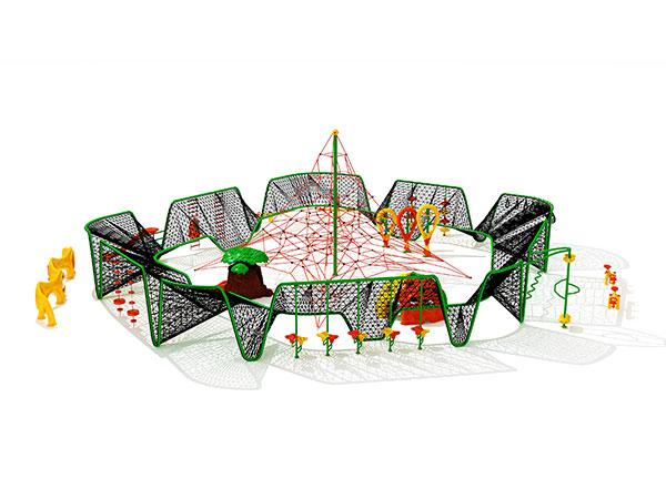 Kinders se gewilde gekombineerde kommersiële buitenshuise speelterrein buite klimspeelstelsel KQ31062A