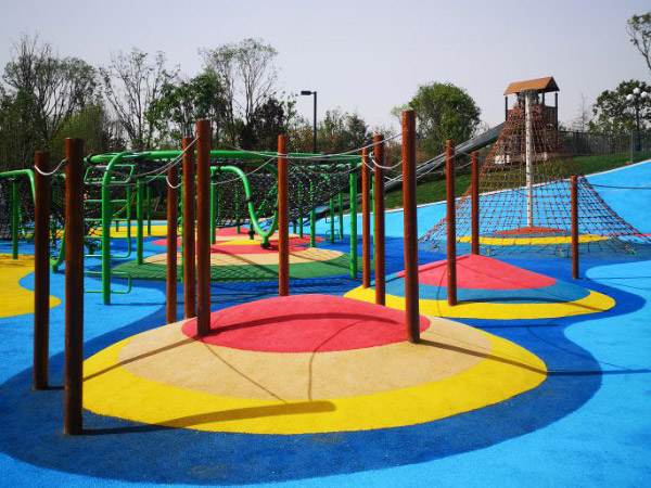 Playground flooring with various designs
