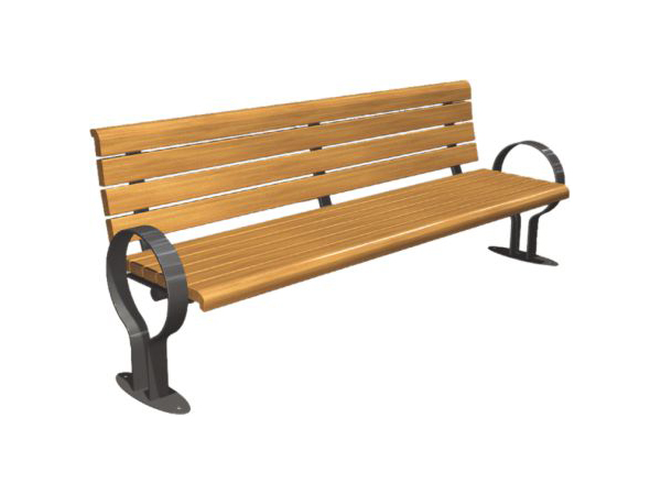 Outdoor park bench made of solid wood