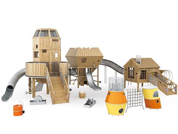 معدات لعب البرج العالي مع نفق الزحف الصافي ومنزل اللعب لملعب الحديقة