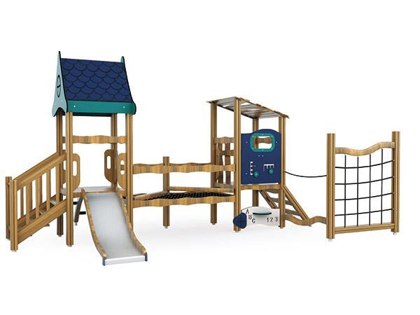Natuurlike hout speelgrond en speelhuis vir skool of kleuterskool