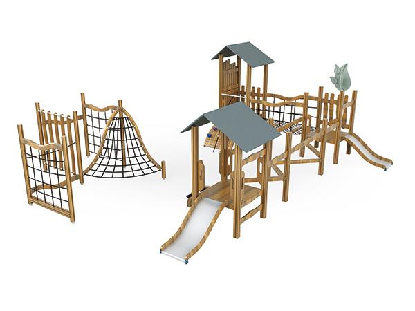 Buitelugterrein en klimmer vir kinders om speletjies in die kleuterskool te speel