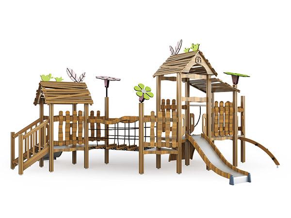 Speelgoed wat van natuurlike hout gemaak is, is ideaal vir kinders in die agterplaas
