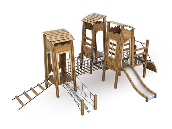 Hout speelgrond met speel torings natuur speel vir kinders