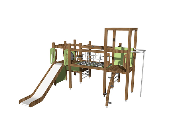Outdoor games with climber and panels for kids to play and learn