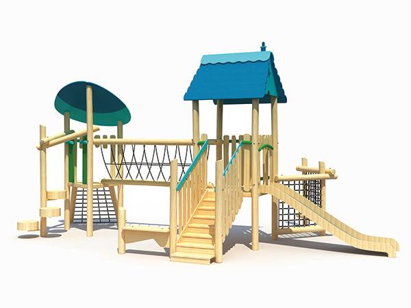 ملعب معياري مصنوع من خشب بيئي مناسب للحديقة والمنتجع