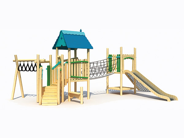 Playground equipment made of wood suitable for camping or resort for kids to play