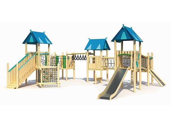 Kinders se speeltoerusting van hout met klimmers en glybane