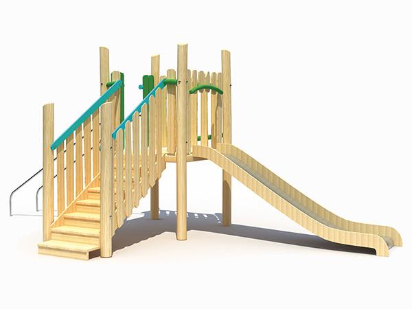 Klein speelgrond met glybaan vir woonbuurte vir kinders om te speel