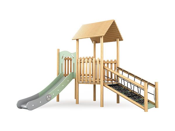 Hout speelplek vir kinders om op skool of in die gemeenskapsgebied te speel