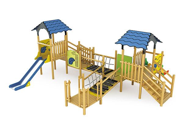 Kommersiële speelterrein van massief hout vir park