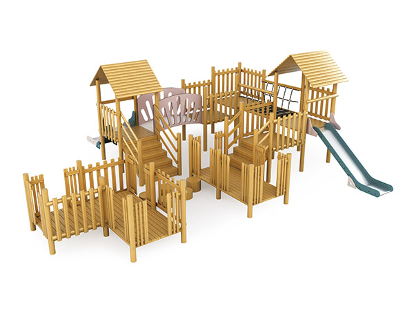 Modular play systems made of solid wood for park