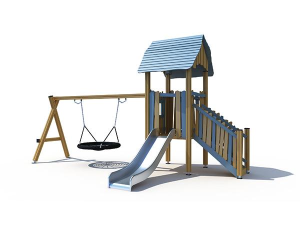 ملعب صغير الحجم مع مجموعة زحليقة وأرجوحة للأطفال للعب الألعاب في الهواء الطلق