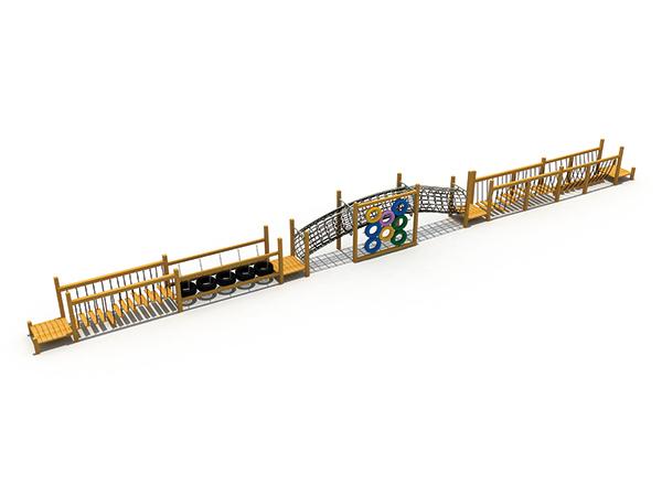 تحدي العقبات المصنوعة من الخشب للأطفال للعب في الهواء الطلق