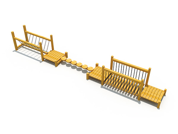 Playground equipment made of solid wood with a few sets of balance beam