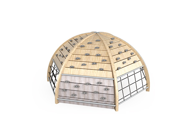 Wood dome climbers with plastic handles for kids to play in outdoor playground