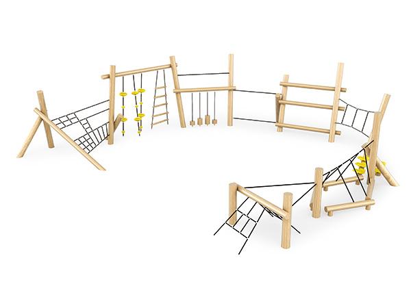 Houtklimmers en balke vir kinders om op die speelgrond buite te speel