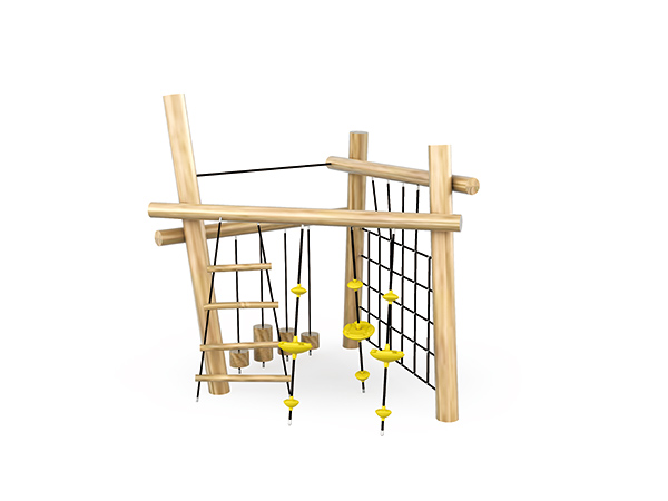 Wood climbers for kids to play in outdoor playground