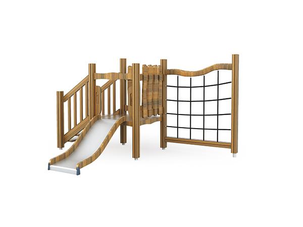 ملعب خشبي به متسلقون ومجموعة منزلقة مخصصة للعب في الهواء الطلق