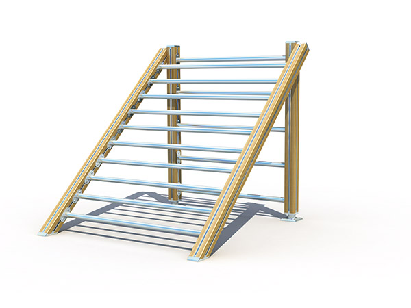 Triangle climbing frame for Children physical training outdoor climbing frame made of wood and steel bars for outdoor playground