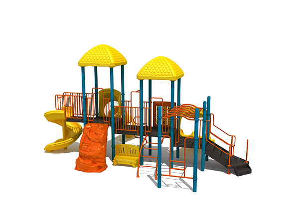 Playground structure made of plastic and steel for kids to learn how to play in the park
