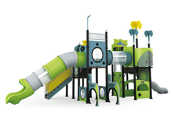 Play equipment with tube slide and high tower for children to play on outdoor playground