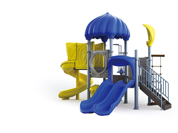 Playground equipment with slides and play panels for kindergarten playground area