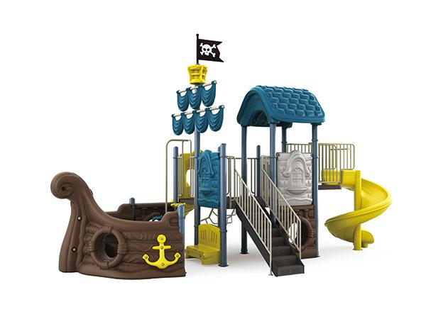 Buitenspeeltoestelle in seerower -tema vir kinders om speletjies in die kleuterskool te speel