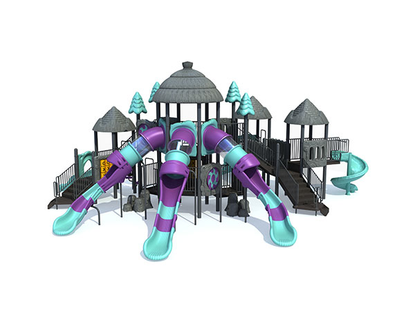 Park play equipment with high tube slides for kids to play games and interactive