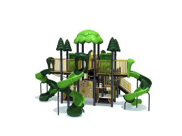ملعب خارجي به العديد من الشرائح وألواح اللعب المناسبة للحديقة والمدرسة