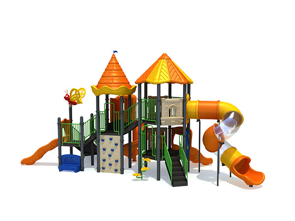 Commercial playground in bright colors to attract children to play in parks and schools