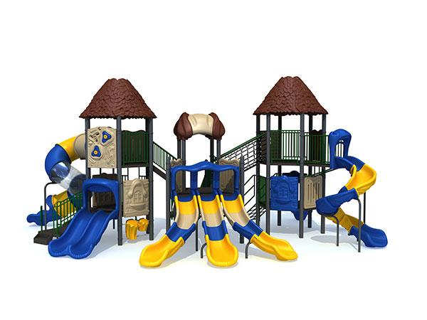 Landscape playground with high slides for school age children