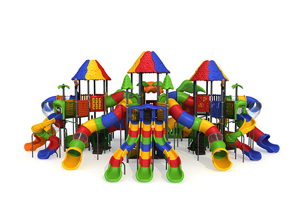 Colorful Big playground with high play towers and different kinds of slides for landscape